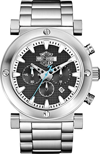 Harley-Davidson Men's Bulova Grey Bar & Shield Chronograph Wrist Watch 76B166