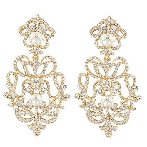 EVER FAITH Austrian Crystal Art Deco Flower Chandelier Dangle Earrings Clear Gold-Tone - Austrian Crystal Chandelier Earrings Jewelry