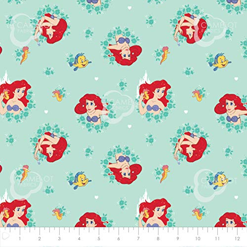 The Little Mermaid, Ariel Fabric from Camelot Fabrics and Licensed by Disney in Turquoise (1 Yard) -