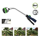 Shopline Garden Hose Nozzle Sprayer, 18.1 inch Adjustable Car Washer Gun Spray Nozzle with 9 Watering Patterns, Long Grabber Cleaning Foam Wash Gun for Car Wash Cleaning, Watering Plants Flowers