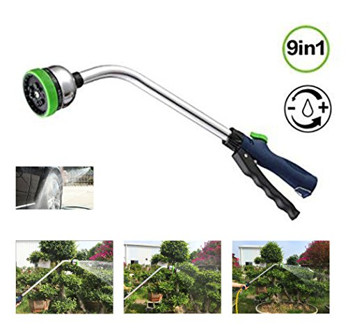 Garden Hose Nozzle Sprayer, Shopline 18.1 inch Adjustable Car Washer Gun Spray Nozzle with 9 Watering Patterns, Long Grabber Cleaning Foam Wash Gun for Car Wash Cleaning, Watering Plants Flowers