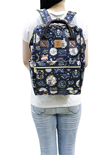 DollyClub Water Repellent Women Backpack Rucksack, Navy Owl Pattern Design