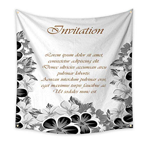 Tapestry for Teen Girls Frame of Monochrome Colors for Design Postcards Greeting Invitation for a Birthday Valentine s Day Wedding Party Holiday celebrati Large tablecloths Wall tapest 32W x 32L Inch