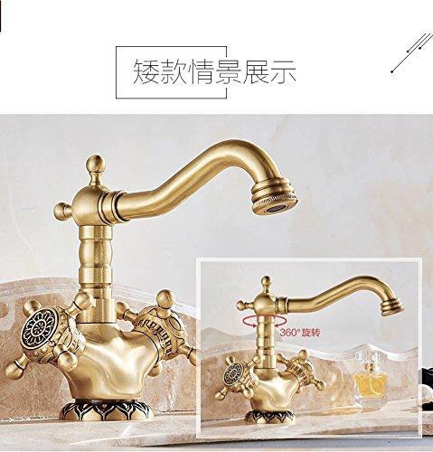 Hlluya Wasserhahn für für für Waschbecken Küche Full-Kupfer Waschbecken Wasserhahn Messing antik Geschnitzte Hähne des kalten Wassers, e46624