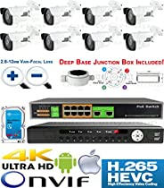 USG Premium Sony + Ambarella Chipset 8 Camera Security System H.265 Ultra 4K PoE IP CCTV Kit : 8x 2MP 2.8-12mm Bullet Camera + 1x 36 Channel 8MP NVR + 1x 10 Port PoE Network Switch + 1x 4TB HD