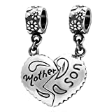 PHOCKSIN 925 Sterling Silver Mother Son Charms&Pendant Set fits Bracelets Necklaces for Mom