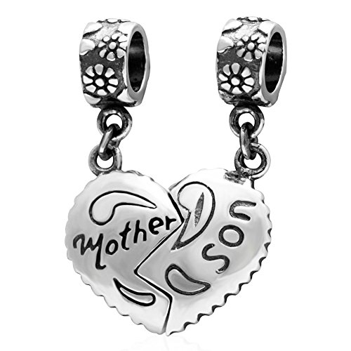(PHOCKSIN 925 Sterling Silver Mother Son Charms&Pendant Set fits Bracelets Necklaces for Mom)