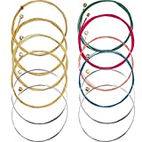 2 Sets of 6 guitar strings replacement steel string for acoustic guitar (1 yellow set and 1 multicolor set) Fit for: These colored strings are replacement strings for acoustic guitar. Material: Made of steel with unique rustproof coating, has long se...