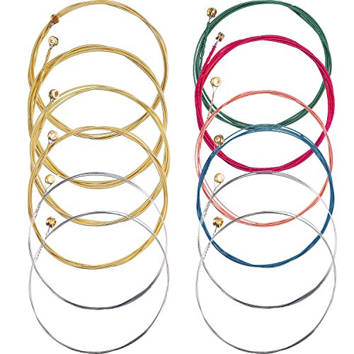 (Bememo 2 Sets of 6 Guitar Strings Replacement Steel String for Acoustic Guitar (1 Yellow Set and 1 Multicolor Set))