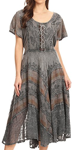 Sakkas 15323 - Mila Long Corset Embroidered Cap Sleeve Dress with Adjustable Waist - Grey - 1X/2X