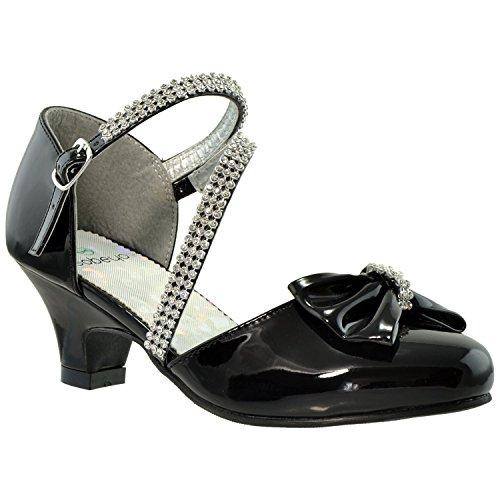Kids Dress Shoes Rhinestone Bow Accent Kitten Heel Sandals Black SZ ()