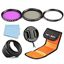 K&F Concept Professional 62mm Lens Filter Kit (UV Slim CPL FLD) Circular Polarizing Fluorescent For Sigma Tamron Sony Alpha A57 A77 A65 DSLR Cameras + Lens Hood + Lens Cap +Cleaning Cloth + Shockproof Filter Bag