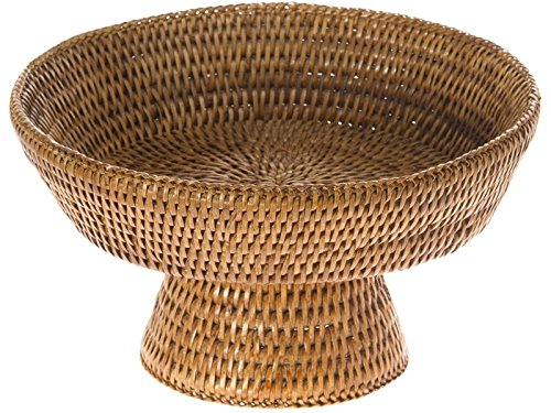Honey Rattan (Kouboo, La Jolla Handwoven Pedestal Rattan Fruit Bowl, 10.5 x 6 in, Honey Brown)