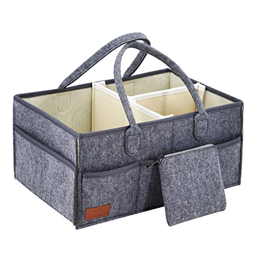 Atlas Trails - Baby Diaper Caddy Portable Organizer - Changing Table Nursery:Large Storage Basket Tote. Must Have Nursery Bag for Craft. Perfect Newborn Shower Registry 15x9.5x7.5in(Earth) from Atlas Trails