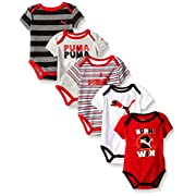 PUMA Baby Boys' 5 Pack Bodysuit Pack, Star Red, 6/9M