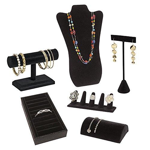 SSWBasics Jewelry Display Bundle – Black Velvet – 6 Displays Included