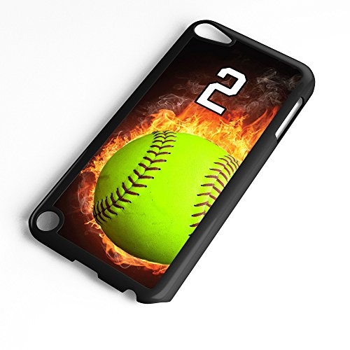 iPod Touch Case Fits 6th Generation or 5th Generation Softball #0700 Choose Any Player Jersey Number 2 in White Plastic Customizable by TYD Designs