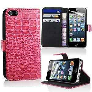 Lapinette CROC-5C-ROSE - Funda de piel cocodrilo para Apple iPhone 5c, color rosa