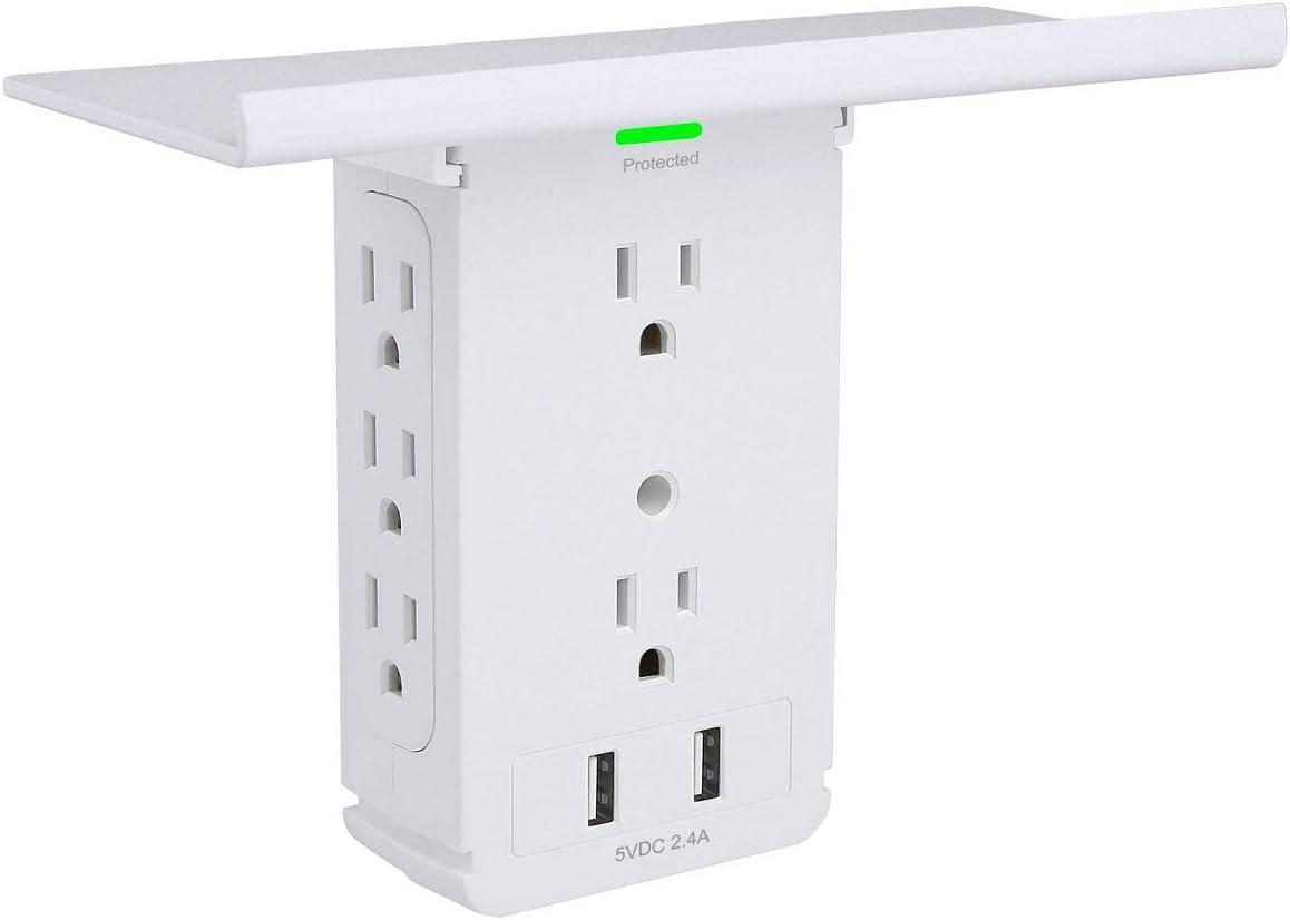 Socket Shelf 8 Outlet Surge Protector, Wall Socket Shelf Outlet Extender with 2 USB Charging Port, Bathroom Outlet Plug Expansion Shelf(8AC2USB-Surge Protector)
