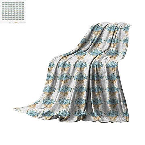 Luoiaax Ivory and Blue Custom Design Cozy Flannel Blanket Wicker Basket Design with Spring Season Blooming Flowers Digital Printing Blanket 62