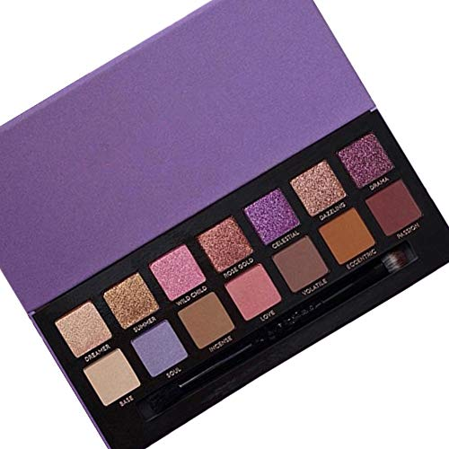 Vivi&2annie Eyeshadow Palette Professional 14 Color Eyeshadow Pearlescent Matte Natural Luster Purple Gold Smoked With Eye Shadow Brush Ideal Gift