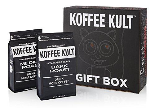 Koffee Kult Gift Box - Dark Roast and Medium Roast Whole Bean Coffee