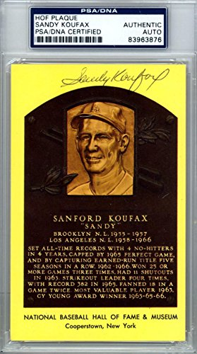 Sandy Koufax Authentic Autographed Signed HOF Plaque Postcard #83963876 PSA/DNA Certified MLB Cut Signatures