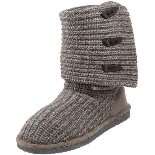 Fur Trimmed Toggle - BEARPAW Women's Knit Tall Winter Boot, Gray II, 6 M