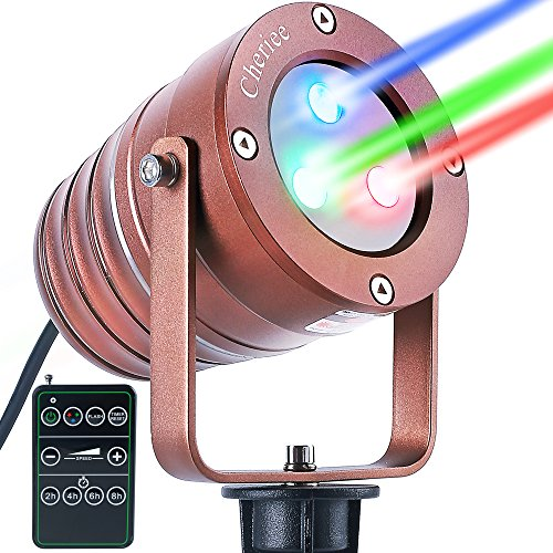 Cheriee Outdoor Christmas Laser Light, Aluminum Star Projector Twinkling Red & Green & Blue Lights For Christmas Holiday and Garden Show Decoration With RF Remote