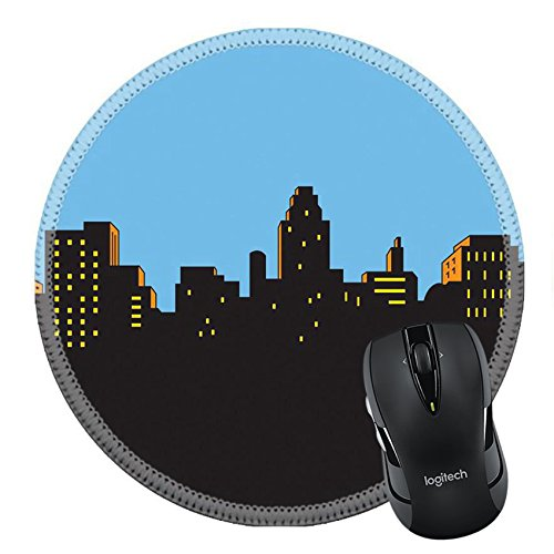 MSD Natural Rubber Mousepad Round Mouse Pad 21536038 Retro Classic Comics Style City Skyline