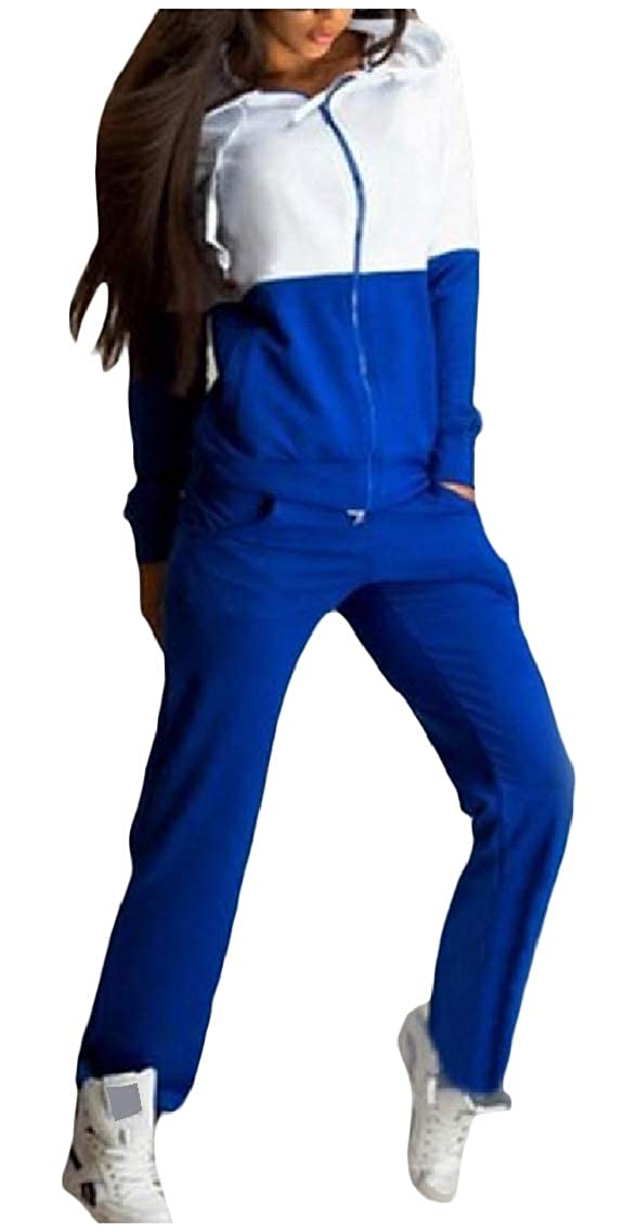 Coolred-Women Stitch Casual 2 Piece Hit Color Zip Hood Stylish Sweatsuit Set