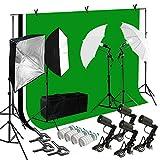 Lusana STUDIO Photo Video Studio Light Kit with 3 Color Backdrops (Black/White/Green) Background Screen Softbox Umbrella, LNA1000-EYLS994
