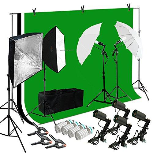 Lusana STUDIO Photo Video Studio Light Kit with 3 Color Backdrops (Black/White/Green) Background Screen Softbox Umbrella, LNA1000-EYLS994 by Lusana Studio