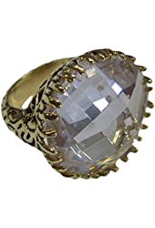 Large Round Special Cut Clear CZ Gold Tone Ring with Intricate Black Antique Side Accents