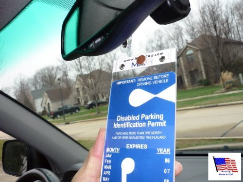 MirorTag Gold by JL Safety- A Novel Way to Protect, Display & Put Away a Handicapped Parking Placard. Hard plastic will not melt or bend or break in the sun. Magnetically snaps On & Off. Made in USA