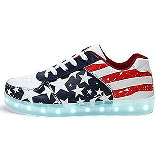 luckfugui Men Women American USA Flag USB LED Light Shoes Flashing Sneakers gq45
