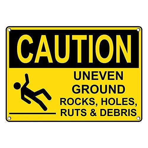 Vincenicy Metal Sign Great Aluminum Tin Sign Caution Uneven Ground Rocks, Holes, Ruts & Debris Sign 8 X 12 Inch