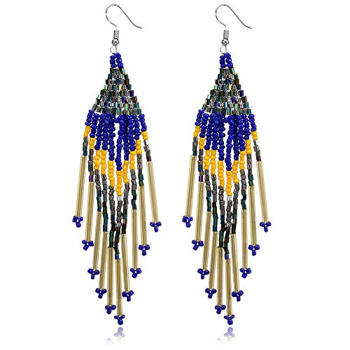 Royalbeier Beaded Earrings Oversized Handmade Seed Beaded Drop Earrings Long Beaded Navajo Indian Dangle Earrings for Women Ladies