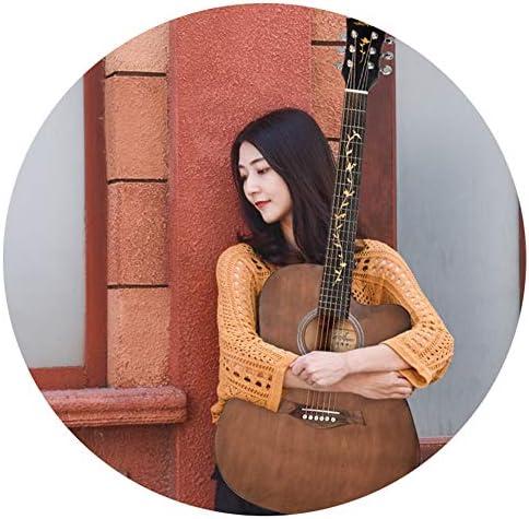 YJFENG アコースティックギター、 41インチ スプルース単板 明るい音 無音 コードボタンを閉じる 男の子 エントリーレベルのアコースティックギター 女子高生 (Color : Brown, Size : 105cm)