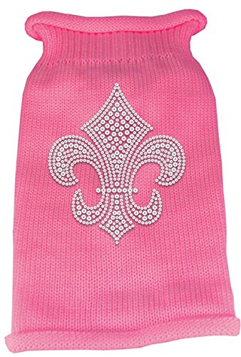 Mirage Pet Products Silver Fleur de lis Rhinestone Knit Pet Sweater, Large, Pink