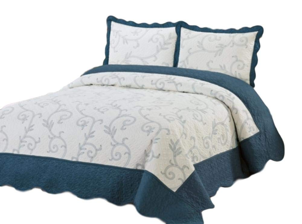 Bedding 3 Piece / Bedspread Bed Quilt Set / Embroidered / 2 Pillow Sham, Turquoise (King) 0965