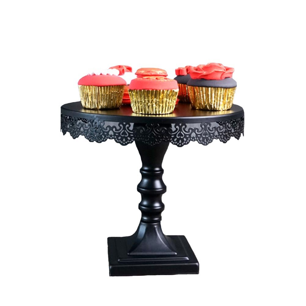 Cake Plate Stand, Botitu 10 inch Black Metal Decorative Dessert Stand with Pedestal for Birthday and Wedding Cupcake Stand, Suitable for Displaying Cheese, Macron, Brownies Serving Stand(9 inch tall) by Botitu