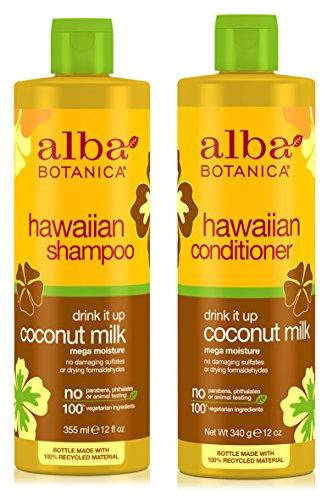 Alba Botanica Naturals Hawaiian Shampoo and Conditioner Drink It Up Coconut Milk Bundle With Aloe Vera, Pineapple, Camelia, Papaya, Quinoa Seed, Coconut, Ginger, Coumarin and Pyrifera, 12 oz. each