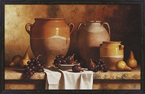 Confit Jars with Fruit by Loran Speck Framed Art Print Wall Picture, Espresso Brown Frame, 40 x 26 (Confit Jar)