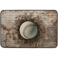 Area Rugs 23.6x15.7 Inches 3D Baseball Embedded In Wall Modern Soft Carpet For Living Room,Bedroom,Entrance,Decorative,Hallway
