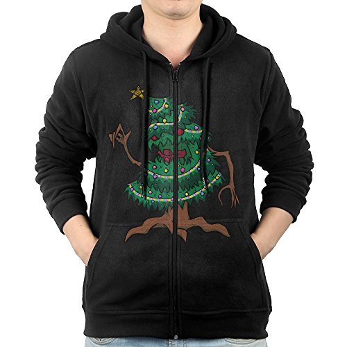 [NHK Men's Monster Tree Zip-Up Hoodie Jackets Black Size XL] (Im The Pope Costume)