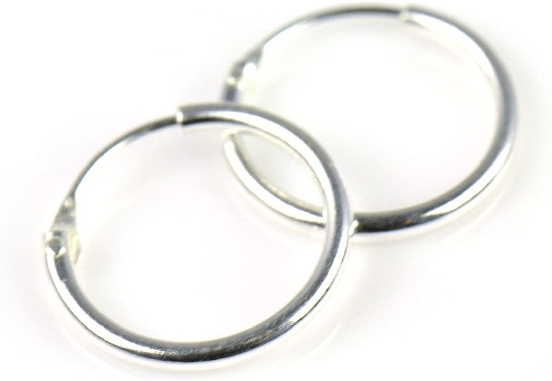 PAIR of 925 Sterling Silver Endless Tiny Hoop Earrings for Nose Lips MADE IN UK