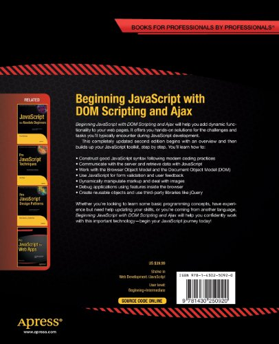 Beginning JavaScript with DOM Scripting and Ajax: Second Editon