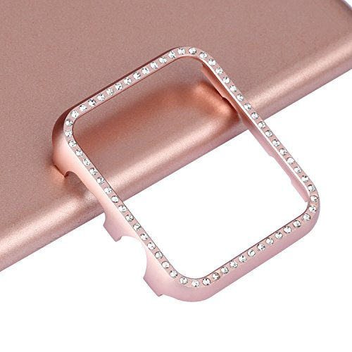 Aluminum Metal Watch Case Crystal Diamonds Plate Protective Cover Ultra Thin Bumper Watch Series 1/2/3(Best 3D Bling Gift Your iWatch (Rose Bling, 38 mm) by SD Trading (Image #7)