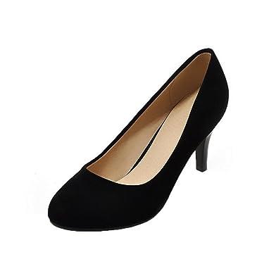AalarDom Damen High-Heels Rund Zehe Rein Ziehen auf Pumps Schuhe